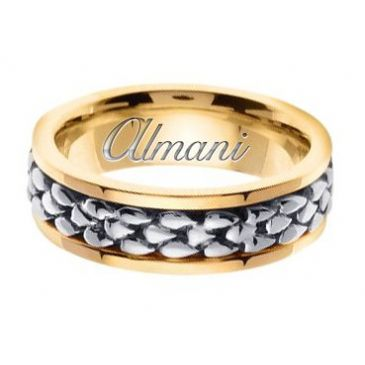 950 Platinum & 18k Gold 7mm Handmade Two Tone Wedding Ring 153 Almani
