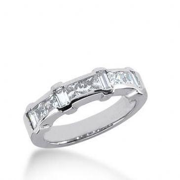 18K Gold Diamond Anniversary Wedding Ring 6 Princess Cut, 4 Straight Baguette Diamonds 1.24ctw 225WR102818K