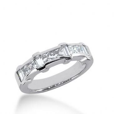 950 Platinum Diamond Anniversary Wedding Ring 6 Princess Cut, 4 Straight Baguette Diamonds 1.24ctw 225WR1028PLT