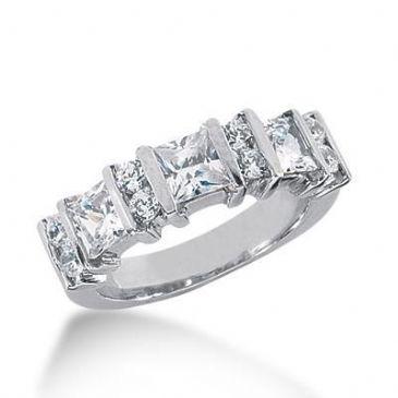 18K Gold Diamond Anniversary Wedding Ring 3 Princess Cut, 8 Round Brilliant Diamonds 1.90ctw 226WR103018K