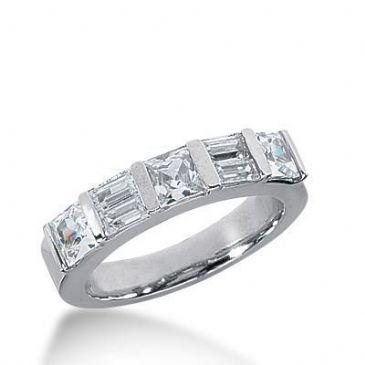 18K Gold Diamond Anniversary Wedding Ring 3 Princess Cut, 4 Straight Baguette Diamonds 1.68ctw 227WR103818K