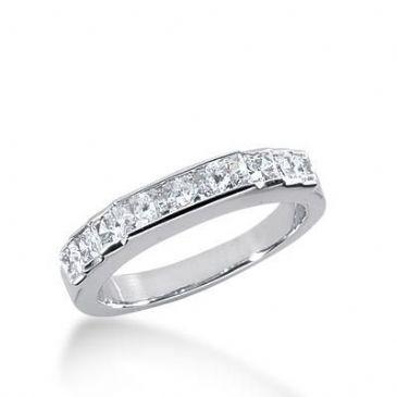 18K Gold Diamond Anniversary Wedding Ring 10 Princess Cut Diamonds 0.82ctw 228WR103918K