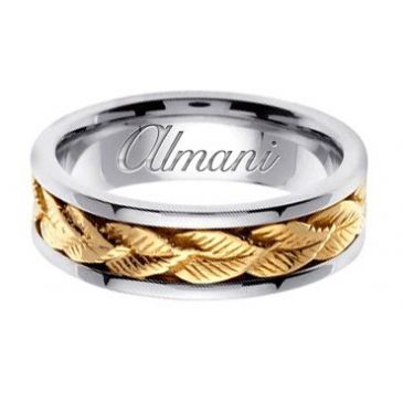 18k Gold 7mm Handmade Two Tone Wedding Ring 154 Almani