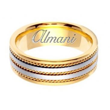 18k Gold 7mm Handmade Two Tone Wedding Ring 155 Almani