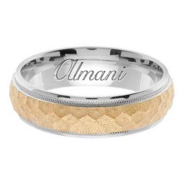 18k Gold 7mm Handmade Two Tone Wedding Ring 156 Almani
