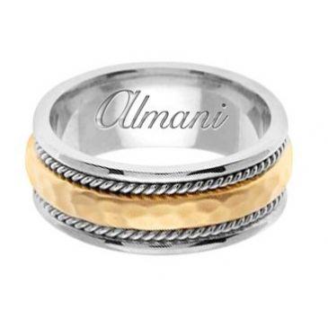 18k Gold 8.5mm Handmade Two Tone Wedding Ring 161 Almani