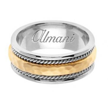 950 Platinum & 18k Gold 8.5mm Handmade Two Tone Wedding Ring 161 Almani