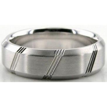 Platinum 950 6.5mm Diamond Cut Wedding Band 618