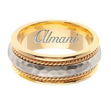 18k Gold 8.5mm Handmade Two Tone Wedding Ring 163 Almani