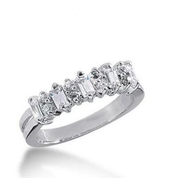 18K Gold Diamond Anniversary Wedding Ring 8 Round Brilliant, 5 Straight Baguette Diamonds 0.66ctw 231WR105218K