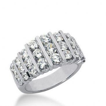18K Gold Diamond Anniversary Wedding Ring 27 Round Brilliant Diamonds 2.19ctw 232WR105318K