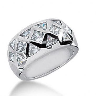 18K Gold Diamond Anniversary Wedding Ring, 8 Trillion Shaped, 5 Princess Cut Diamonds 1.65ctw 233WR105418K