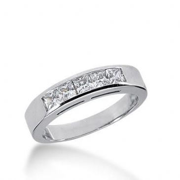 18K Gold Diamond Anniversary Wedding Ring 5 Princess Cut Diamonds 0.70ctw 235WR107218K