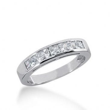 950 Platinum Diamond Anniversary Wedding Ring 7 Princess Cut Diamonds 0.70ctw 236WR1078PLT
