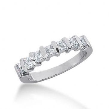 18K Gold Diamond Wedding Ring 7 Princess Cut Diamonds 0.70ctw 237WR108018K