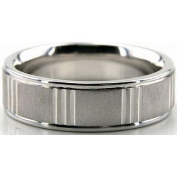 Platinum 950 6.5mm Diamond Cut Wedding Band 667