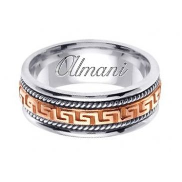 14k Gold 8mm Handmade Two Tone Wedding Ring 165 Almani