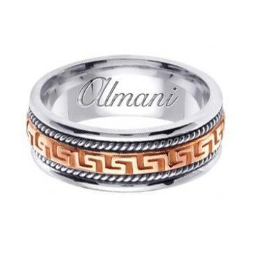 18k Gold 8mm Handmade Two Tone Wedding Ring 165 Almani
