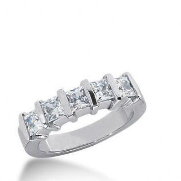 18K Gold Diamond Anniversary Wedding Ring 5 Princess Cut Diamonds 1.40ctw 238WR108118K