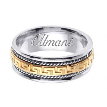 18k Gold 8mm Handmade Two Tone Wedding Ring 166 Almani