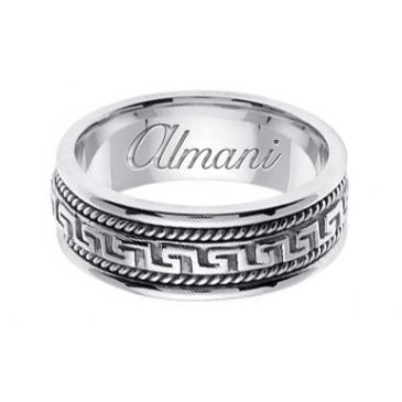 14K Gold 8mm Handmade Wedding Ring 167 Almani