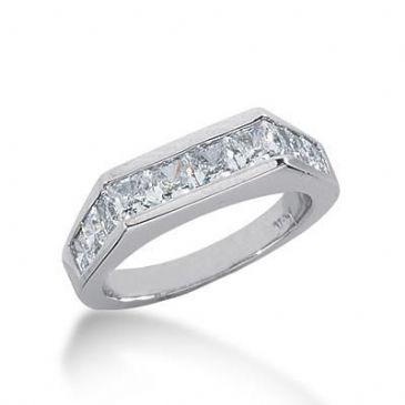 18K Gold Diamond Anniversary Wedding Ring 10 Princess Cut Diamonds 1.70ctw 239WR108218K