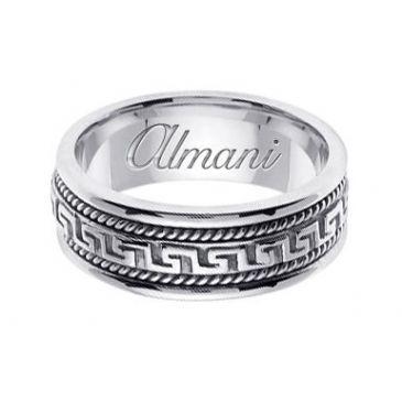 18k Gold 8mm Handmade Wedding Ring 167 Almani
