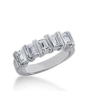 18K Gold Diamond Anniversary Wedding Ring 5 Straight Baguette Diamonds 0.60ctw 241WR108418K