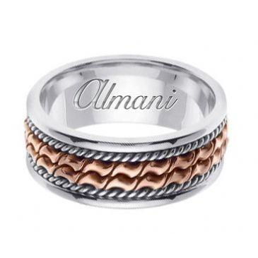 14k Gold 8mm Handmade Two Tone Wedding Ring 168 Almani