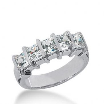 950 Platinum Diamond Anniversary Wedding Ring 5 Princess Cut Diamonds 2.50ctw 242WR1085PLT