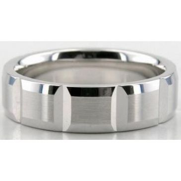 Platinum 950 6mm Diamond Cut Wedding Band 605