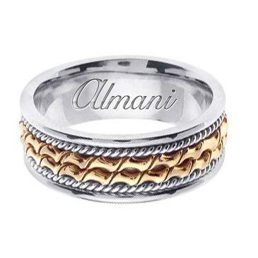 14k Gold 8mm Handmade Two Tone Wedding Ring 170 Almani
