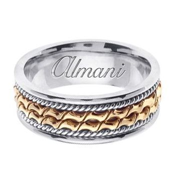 18k Gold 8mm Handmade Two Tone Wedding Ring 170 Almani