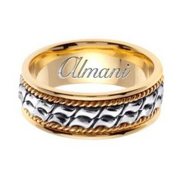 18k Gold 8mm Handmade Two Tone Wedding Ring 171 Almani