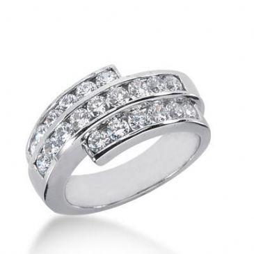 18K Gold Diamond Anniversary Wedding Ring 21 Round Brilliant Diamonds 1.68ctw 243WR108618K