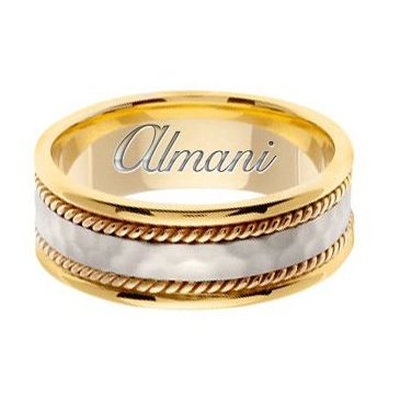 18k Gold 8mm Handmade Two Tone Wedding Ring 174 Almani