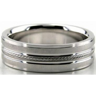 Platinum 950 6.5mm Diamond Cut Wedding Band 646