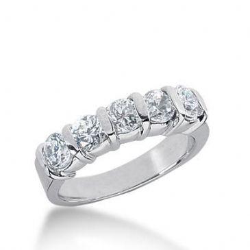 18K Gold Diamond Anniversary Wedding Ring 5 Round Brilliant Diamonds 1.25ctw 247WR109218K