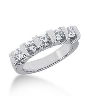 18K Gold Diamond Anniversary Wedding Ring 5 Round Brilliant Diamonds 0.75ctw 248WR109318K