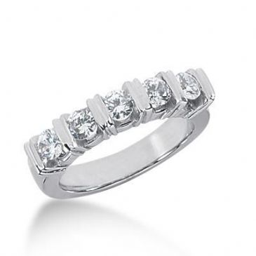 950 Platinum Diamond Anniversary Wedding Ring 5 Round Brilliant Diamonds 0.75ctw 248WR1093PLT