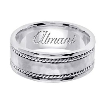 950 Platinum 8mm Handmade Wedding Ring 175 Almani