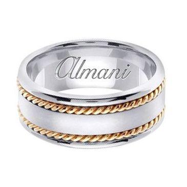 14k Gold 8mm Handmade Two Tone Wedding Ring 178 Almani