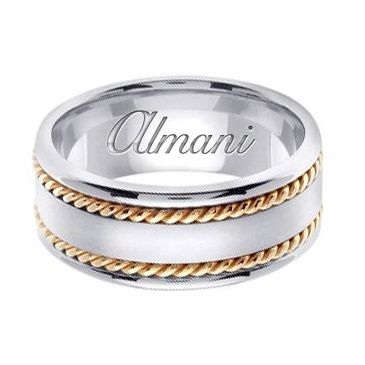 18k Gold 8mm Handmade Two Tone Wedding Ring 178 Almani