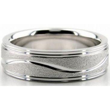 Platinum 950 6.5mm Diamond Cut Wedding Band 623