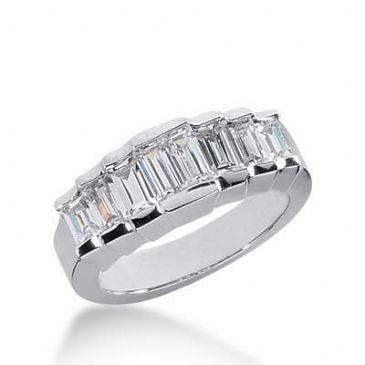 18K Gold Diamond Anniversary Wedding Ring 8 Straight Baguette Diamonds 1.08ctw 249WR109618K