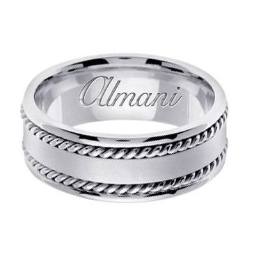950 Platinum 8mm Handmade Wedding Ring 179 Almani