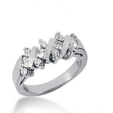 18K Gold Diamond Anniversary Wedding Ring 4 Princess Cut, 8 Round Brilliant Diamonds 0.60ctw 250WR110218K