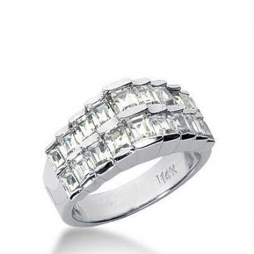 18K Gold Diamond Anniversary Wedding Ring 18 Straight Baguette Diamonds 1.44ctw 251WR110418K