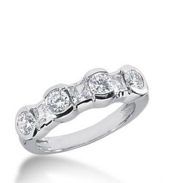 18K Gold Diamond Anniversary Wedding Ring 3 Princess Cut, 4 Round Brilliant Diamonds 1.31ctw 252WR111218K