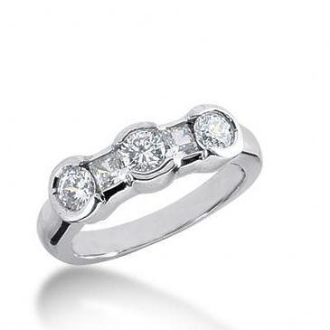 18K Gold Diamond Anniversary Wedding Ring 2 Princess Cut, 3 Round Brilliant Diamonds 0.94ctw 253WR111318K